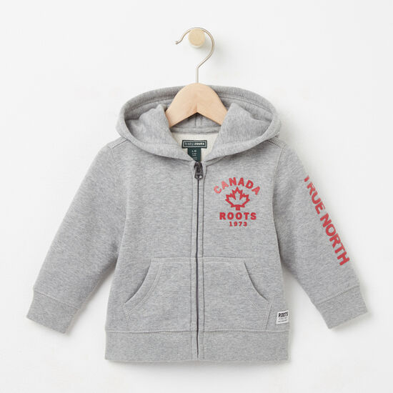 Roots-Kids Tops-Baby True North Full Zip Hoody-Grey Mix-A