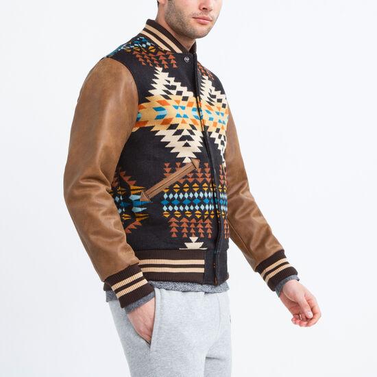 Roots-Men Leather Jackets-Mens Pendleton Varsity-Black-A