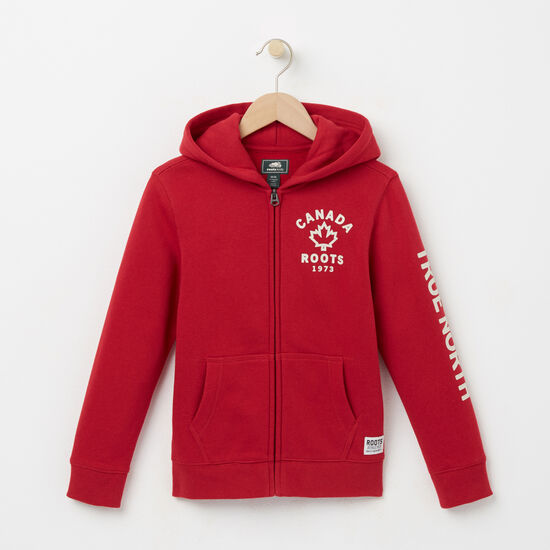 Roots-Kids Tops-Boys True North Full Zip Hoody-Scooter Red-A