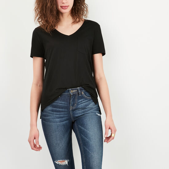 Roots-Women Short Sleeve T-shirts-Mackenzie Pocket Top-Black-A