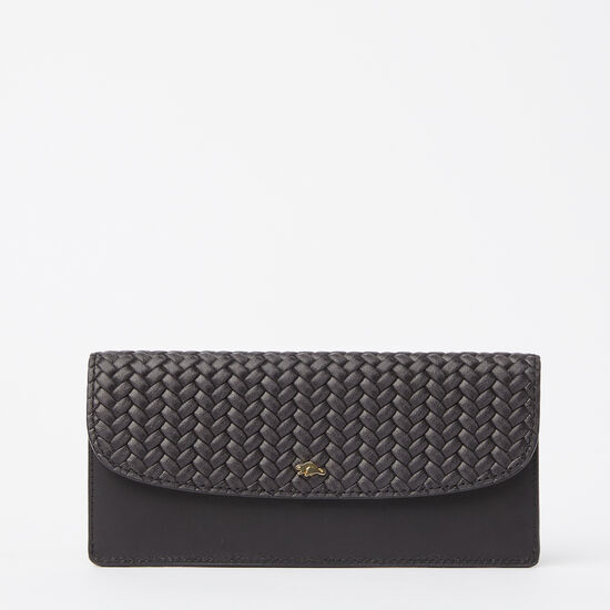 Roots-Leather Women's Wallets-Slim Curve Wallet Woven-Black-A