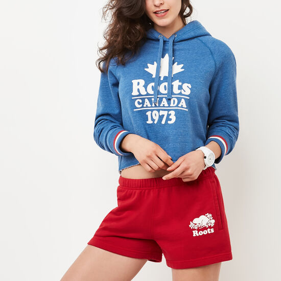 Roots-Women Sweatshirts & Hoodies-Summer Cabin Cropped Hoody-Anchor Lake Blue Mix-A