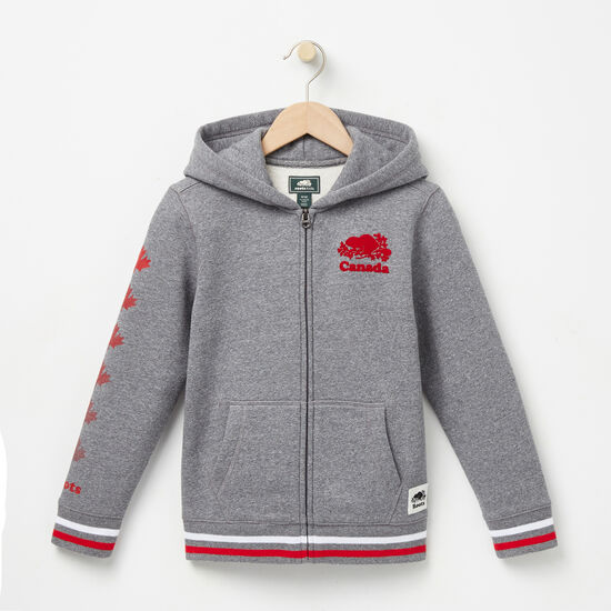 Roots-Kids Boys-Boys Cooper Canada Full Zip Hoody-Salt & Pepper-A