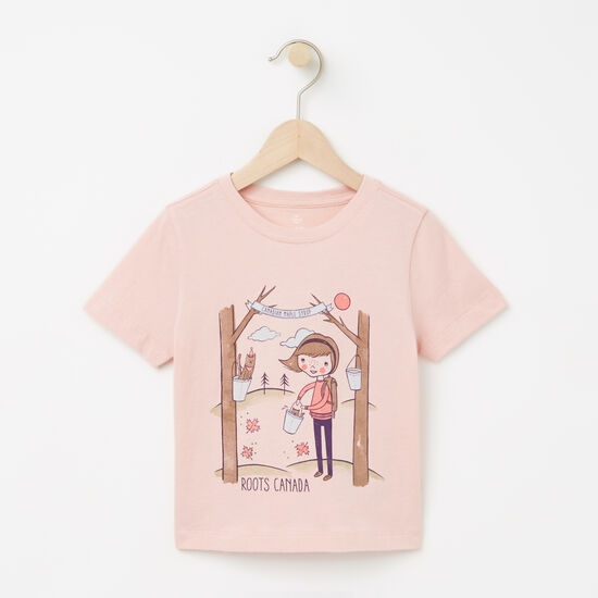 Roots-Kids T-shirts-Toddler Ella Maple Festival T-shirt-Silver Pink-A