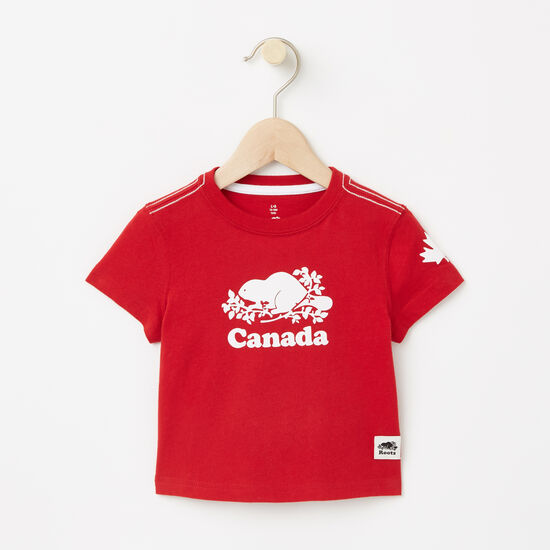Roots-Kids Baby Boy-Baby Cooper Canada T-shirt-Sage Red-A