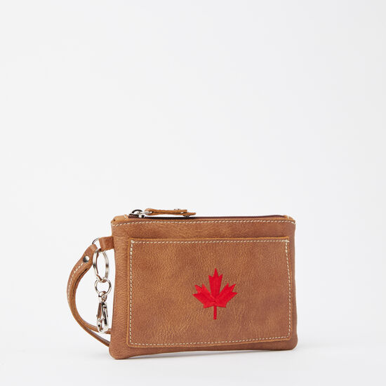 Roots-Women Leather Pouches-Maple Leaf Everyday Clutch Tribe-Africa-A