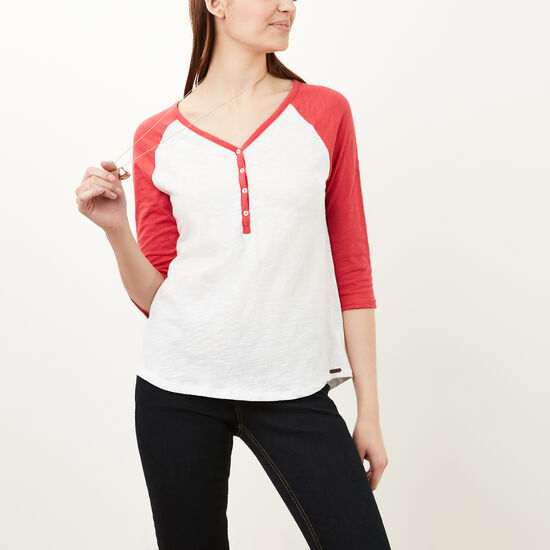 Roots-Women Long Sleeve T-shirts-Nina Baseball Henley-White-A