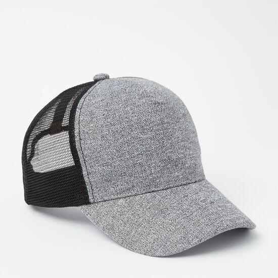 Roots-Men Hats-Pat Trucker Cap-Salt & Pepper-A