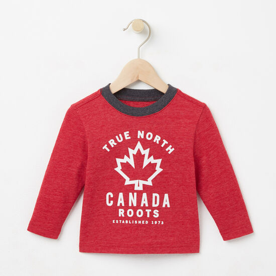 Roots-Kids T-shirts-Baby True North T-shirt-Scooter Red Mix-A