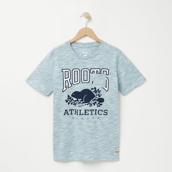 Roots-Women Graphic T-shirts-RBA Spacedye Pocket T-shirt-Celestial Blue-A