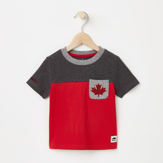Roots-Kids Toddler Boys-Toddler Canada Blocked Pocket Top-Charcoal Mix-A