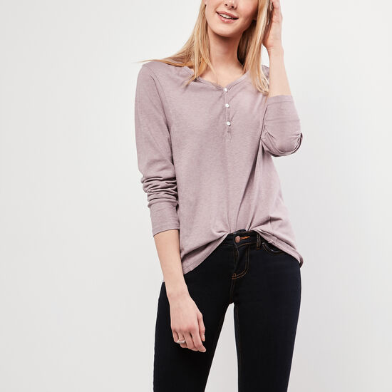 Roots-Women Long Sleeve T-shirts-Flora Henley Top-Grey Ridge-A