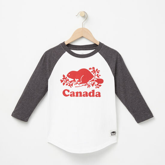 Roots-Kids Canada Collection-Boys Canada Baseball T-shirt-White-A