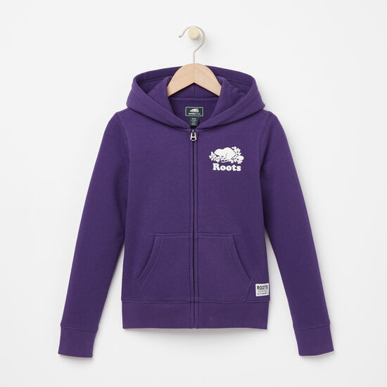 Roots-Kids Tops-Girls Original Full Zip Hoody-Mulberry Purple-A