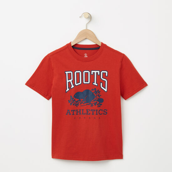 Roots-Enfants T-shirts-Garçons T-shirt RBA Phosphorescent-Tunique Orange-A