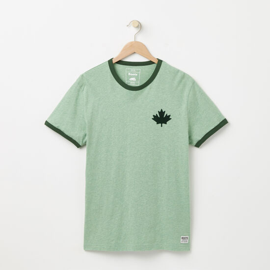 Roots-Men Tops-Camp Canada Ringer T-shirt-Camp Green Mix-A