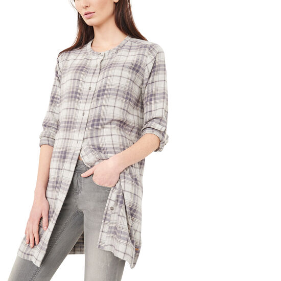Roots-Women Shirts-Kelowna Plaid Tunic-Nirvana Mix-A