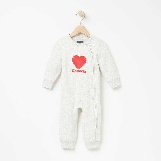 Roots-Kids Rompers & Onesies-Baby Original Love Canada Romper-Snowy Ice Mix-A