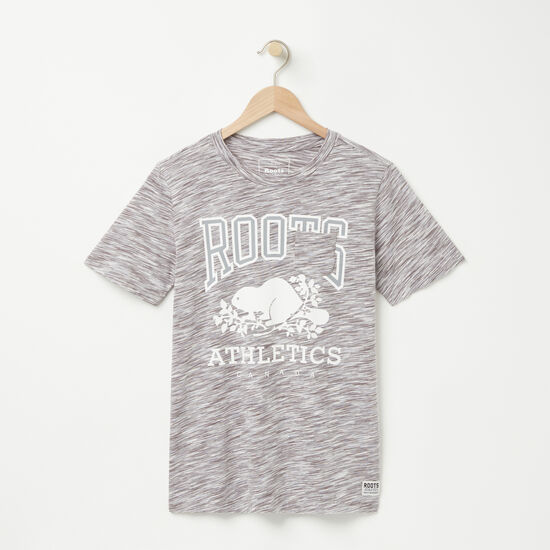 Roots-Sale Women's-RBA Spacedye Pocket T-shirt-Sterling Grey-A