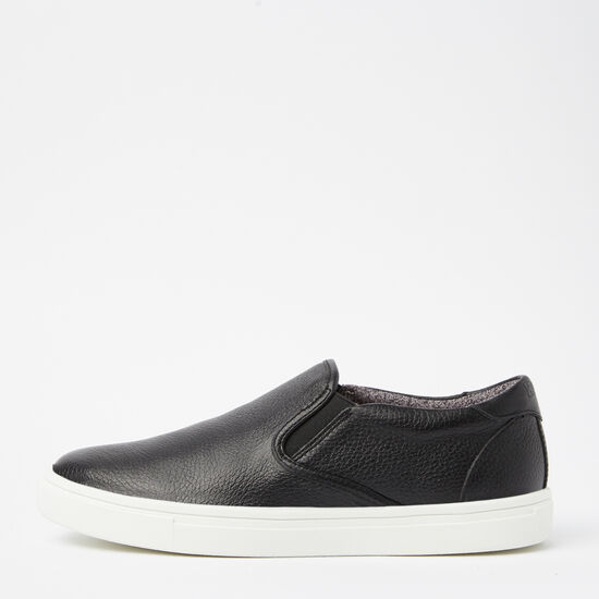 Roots-Shoes Men's Shoes-Mens Slip On Sneaker Leather-Black-A