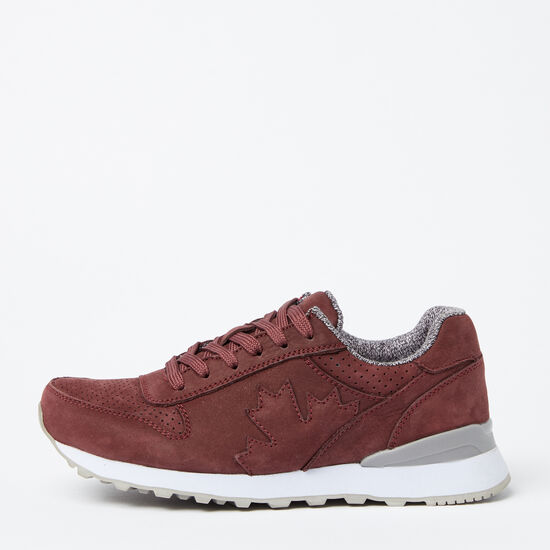 Roots-Shoes Women's-Womens Trans Canada Jogger Nubuck-Burgundy-A
