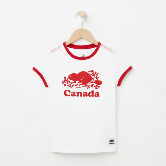Roots-Kids T-shirts-Girls Cooper Canada T-shirt-White-A
