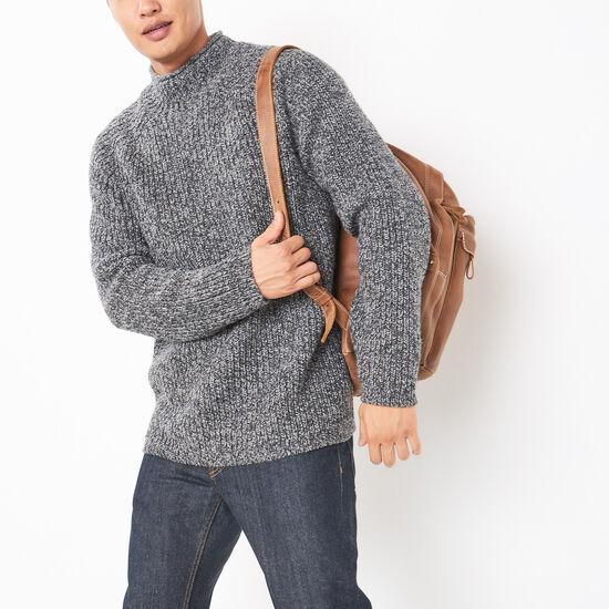 Roots-Men Sweaters & Cardigans-Crowsnest Mock Neck Sweater-Grey Twist-A