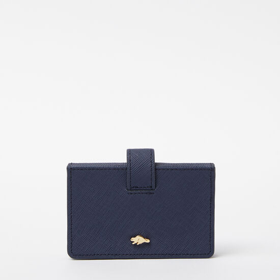 Roots-Women Wallets-Multi Card Holder Saffiano-Dark Indigo-A
