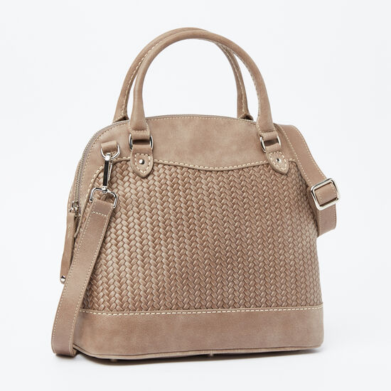 Roots-Leather Features-Café Bag Woven-Fawn-A