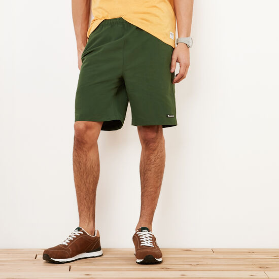 Roots-Men Shorts-Nylon Camp Shorts-Camp Green-A
