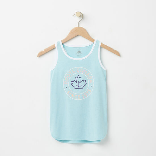 Roots-Kids Tops-Girls Lucy Tank-Light Blue-A