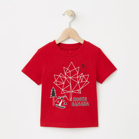 Roots-Kids Toddler Boys-Toddler Glow Maple Constellation T-shirt-Sage Red-A