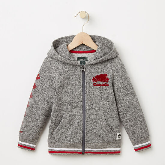 Roots-Kids Toddler Girls-Toddler Canada Full Zip Hoody-Salt & Pepper-A