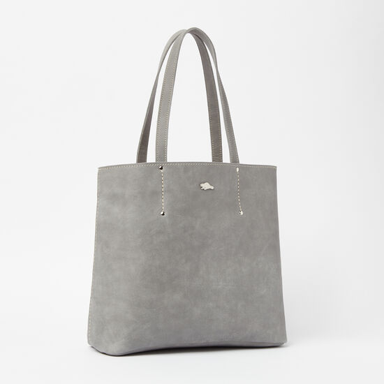 Roots-Leather Totes-Downtown Tote Tribe-Quartz-A