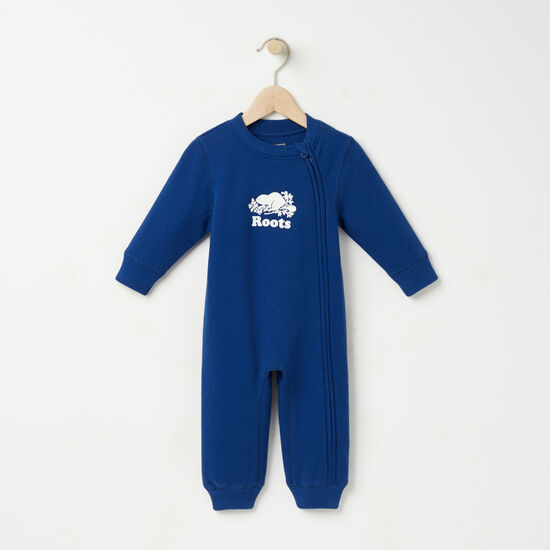 Roots-Kids Baby Boy-Baby Original Cooper Beaver Romper-Anchor Lake Blue-A