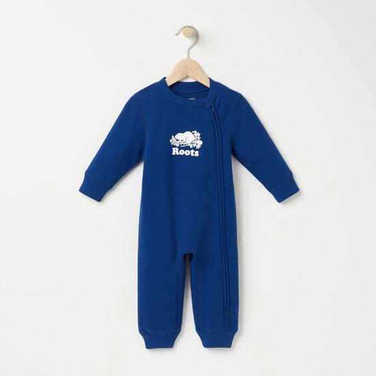 Roots-Kids New Arrivals-Baby Original Cooper Beaver Romper-Anchor Lake Blue-A