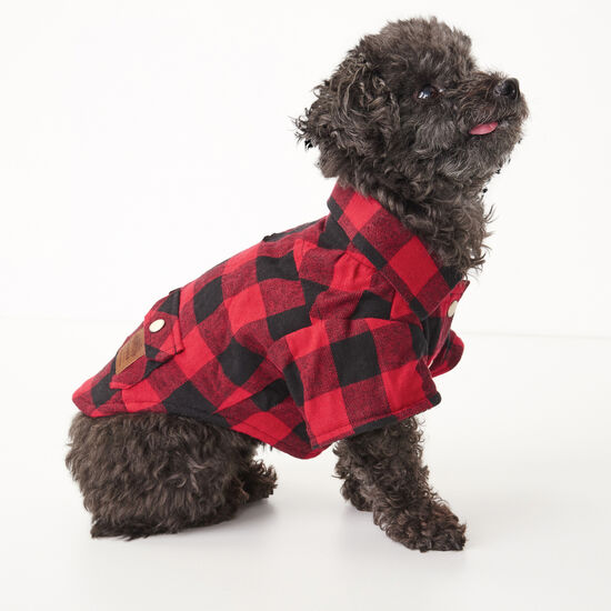 Roots-Men Roots Home-Roots X Canada Pooch Flannel Shirt - Size 10-Lodge Red-A