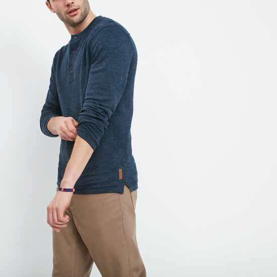 Roots-Men Best Sellers-Bonshaw Sweater Henley-Navy Mix-A