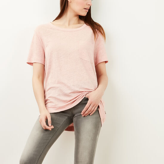 Roots-Women Short Sleeve T-shirts-Harbour T-shirt-Silver Pink-A