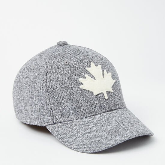 Roots-Kids Accessories-Kids Canada Leaf Baseball Cap-Salt & Pepper-A