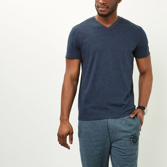 Roots-Men Tops-Withrow V Neck T-shirt-Navy Blazer Mix-A