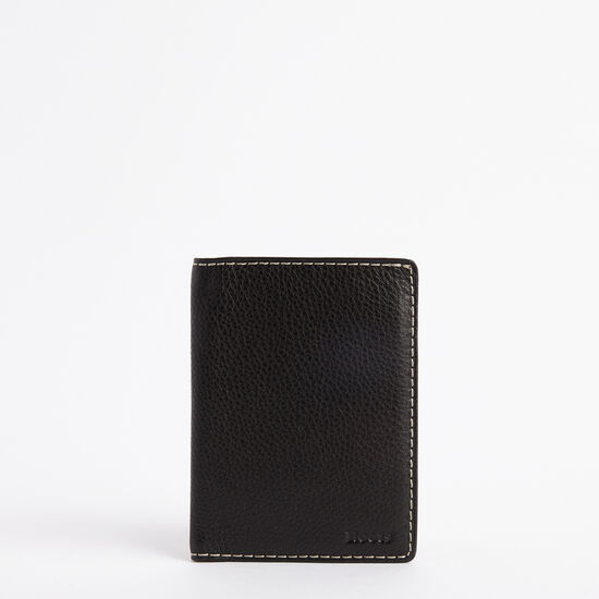 Roots-Leather Travel Wallets-Passport Wallet Prince-Black-A