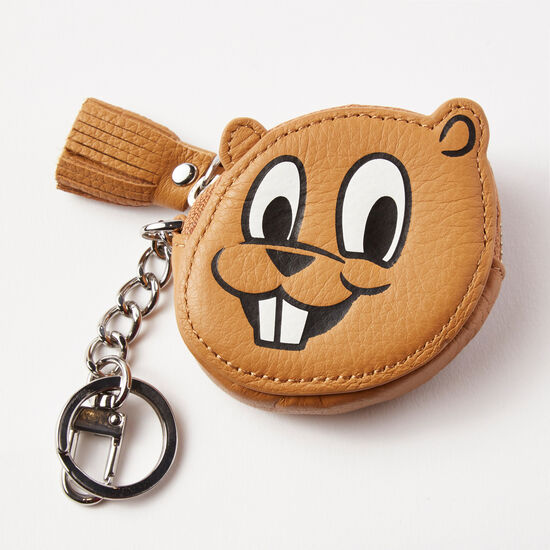Roots-Leather Small Leather Goods-Roots Beaver Key Chain Prince-Brown-A