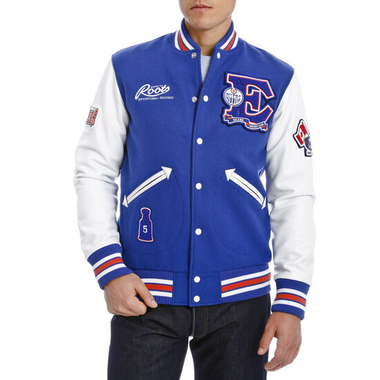 Roots-Leather Men's Leather Jackets-NHL Award Jacket-Edmonton-A