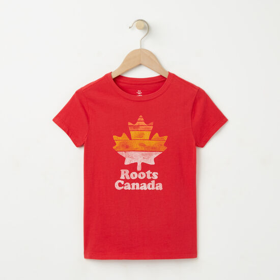 Roots-Kids T-shirts-Girls Roots Canada T-shirt-Geranium-A