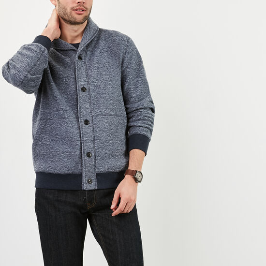 Roots-Men Sweaters & Cardigans-Alberni Shawl Cardigan-Dark Dapple Blue-A