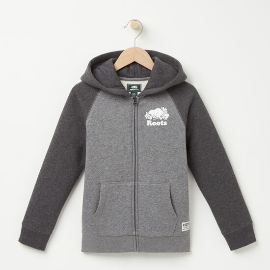 Roots-Kids Boys-Boys Contrast Full Zip Hoody-Med Grey Mix-A