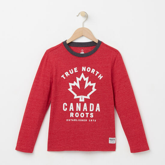 Roots-Kids New Arrivals-Boys True North T-shirt-Scooter Red Mix-A