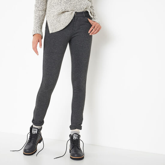 Roots-Women Bottoms-Skinny Melange Ponte Pant-Charcoal Mix-A