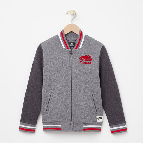 Roots-Kids New Arrivals-Boys Canada Varsity Jacket-Salt & Pepper-A